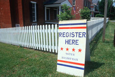 Voter Registratiion Sign on lawn. Voter registration sign with white picket fence, Buckingham, Virginia Stock Photo