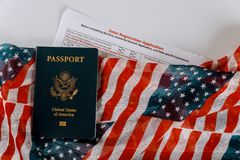Voter Registration Application for presidential US election United States Passports on of American Flag