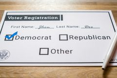 Voter registration card with Democratic party selected - Close Up. A close up photo of a faux voter registration form signifying that a person is joining the Royalty Free Stock Photo