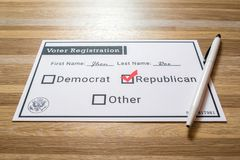 Voter registration card with Republican party selected. Photo of a faux voter registration form signifying that a person is joining the Republican party Royalty Free Stock Photos