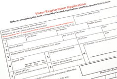 Voter registration form. A United States voter registration application ready to be filled out Stock Image