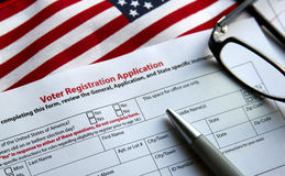 Voter Registration. Form with flag of United States of America Royalty Free Stock Photos