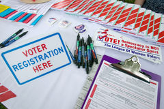 Voter registration forms. Promoting citizen participation at Thomas Jefferson's Monticello on July 4, 2005 for new American Citizens being sworn in as American stock photos