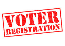 VOTER REGISTRATION. Red Rubber Stamp over a white background Stock Photo