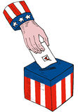 Voter's hand and ballot box Royalty Free Stock Image