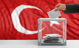 Voter on a Turkey flag background. 3d illustration Stock Photos