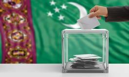 Voter on a Turkmenistan flag background. 3d illustration Royalty Free Stock Photos