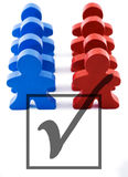 Voter Turnout. Red and blue people representing democratic and republican parties.  Includes clipping path Stock Photos
