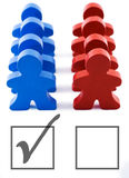 Voter Turnout - Vote Democrat. Red and blue people representing democratic and republican parties.  Includes clipping path Stock Photos