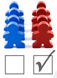 Voter Turnout - Vote Republican. Red and blue people representing democratic and republican parties.  Includes clipping path Stock Images