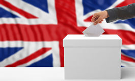 Voter on an UK flag background. 3d illustration Stock Images