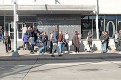 Voters in Cleveland, Ohio wait in line during early voting at the Cuyahoga County Board of Elections royalty free stock photos