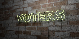 VOTERS - Glowing Neon Sign on stonework wall - 3D rendered royalty free stock illustration Royalty Free Stock Image