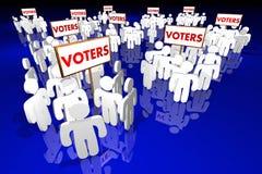 Voters People Groups Voting Election Politics. 3d Illustration Stock Photos