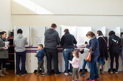 Voters at the polling booth in the 2016 Australian federal election Stock Photo