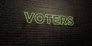 VOTERS -Realistic Neon Sign on Brick Wall background - 3D rendered royalty free stock image Stock Images