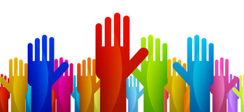 Votes. Colorful hands expressing their vote or decision Stock Images