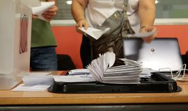 Counting votes in a Polling station in barcelona. Votes are counted and noted at the closing of the election time during the banned pro independence referendum Royalty Free Stock Image