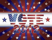 VoteStarsStripesBannerColorV. Vote Presidential Election 2012 Red White and Blue Stars Stripes Sun Rays US Flag Banner Illustration royalty free illustration