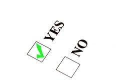 Voti per sì Fotografia Stock Libera da Diritti