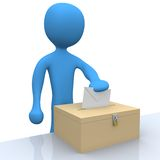 Voting. 3d character putting a vote into a ballot Stock Photos