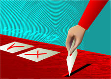 Voting. Ballot box and hand putting a blank ballot inside Stock Images