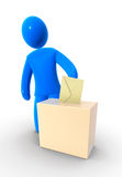 Voting. Blue figure puts the envelope into ballot box. Concept of election, voting and polling Stock Photos