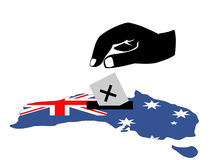 Voting in Australian election. Hand voting with ballot paper in Australian election Stock Image
