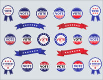 Voting Badges and Stickers for Elections. Series of Vote and I Voted stickers and badges for elections - in USA read white and blue Stock Photos