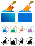 Voting in ballot box. Concept of election isolated illustrated image set Stock Photography