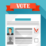 Voting ballot with selected candidate. Political elections illustration for banners, web sites, banners and flayers Royalty Free Stock Photos