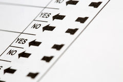 Voting Ballot Yes and No Options Stock Photography