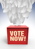 Voting box. Flaying paper over voting box lilustrated in 3d Stock Photos
