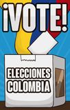 Voting Box, Electoral Card and Flag for Colombian Elections Event, Vector Illustration. Voting box filled with electoral cards and Colombian flag: a symbol to Royalty Free Stock Photos