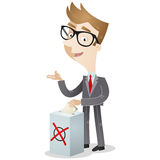 Voting businessman with ballot box Royalty Free Stock Photography