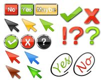 Voting buttons. Yes no maybe voting buttons in web 2 style with metallic outlines on white background Stock Photos
