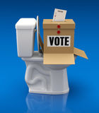 Voting concept with ballot box over toilet bowl Stock Photo