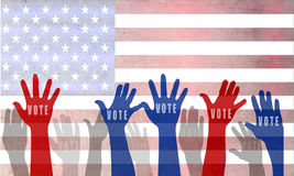 Voting concept in flat style. USA presidential election day and voting concept with american flag on background Stock Photo