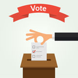 Voting Concept Flat Style Vector Illustration. Hand putting voting paper in the ballot box. Elections concept flat style  illustration. The red ribbon with the Stock Photos