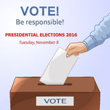 Voting concept - hand putting paper in the ballot box. Elections Royalty Free Stock Photo