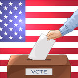 Voting concept - hand putting paper in the ballot box. Elections Stock Photography
