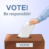 Voting concept - hand putting paper in the ballot box. Elections Stock Image