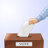 Voting concept - hand putting paper in the ballot box. Elections Royalty Free Stock Images