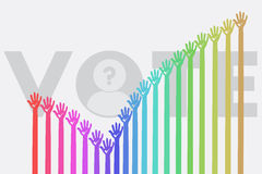 Voting concept. Voting concept with many hands up and colorful in selection mark shape Royalty Free Stock Image
