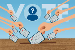 Voting concept. Voting concept with many hands up and holding election card Stock Photo