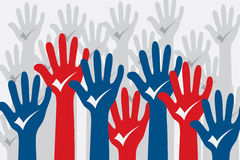 Voting concept. Voting concept with many hands up and selection mark on hands Royalty Free Stock Photography