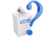 Voting concept. Paper in the ballot box and blue question sign. Stock Photo