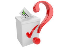 Voting concept. Paper in the ballot box and red question sign. Stock Images