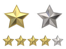 Voting concept. Rating four golden stars. 3D Stock Photo