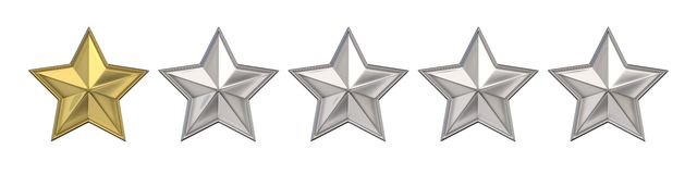 Voting concept. Rating one golden star. 3D render Royalty Free Stock Images